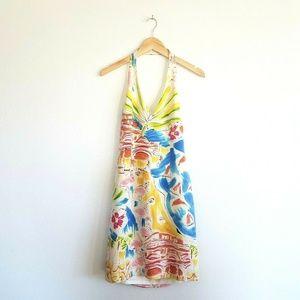 David Meister Silk Halter Dress size 8 Cream Boats